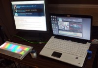 Chat/Twitter monitor and streaming laptop