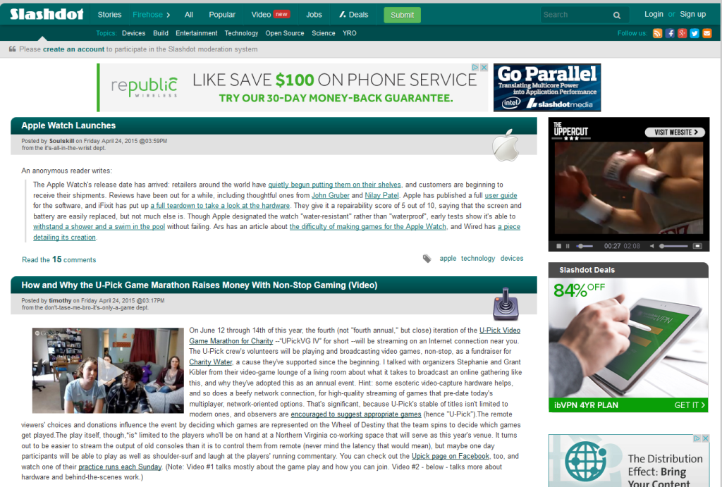 UPickVG on the front page of Slashdot