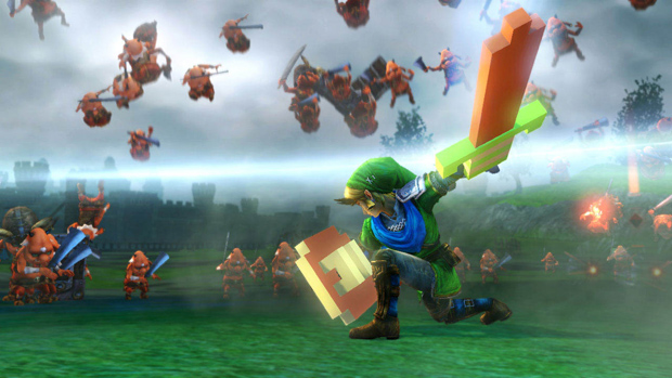 Link fights with an 8-bit sword in Hyrule Warriors