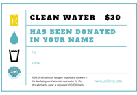 UPickVG charity: water Donation Certificate for $30