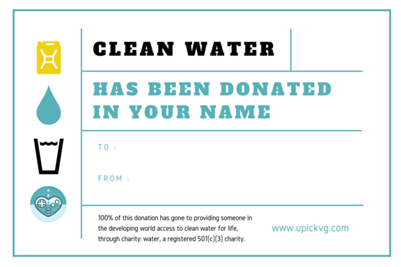 UPickVG charity: water Donation Certificate for Any Amount
